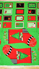 """Happy Holly Days Stockings Sock Tags Labels Christmas Fabric Panel 23""""   #68048"""
