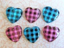 20 Pink & Blue Gingham Check Poly Glass Heart Flatback Button/Cute/Trim/Craft B9