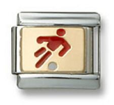 New Authentic Italian Charm Link Gold Enamel Red Soccer Player 9mm Fit Bracelet