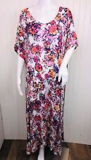 Woman Within Size 2X 26/28 Dress Floral Flowy Midi Short Sleeve