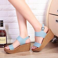 Women Platform Buckle Strappy Wedge Sandals Open Peep Toe Shoes