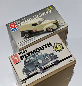 MODEL KIT LOT - 2 AMT KITS - 1/25 1941 Plymouth 2n1 & 1940 Ford Sedan Delivery
