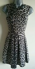 Size 8 Dress Skater Dress Leopard Print Stretch Brown Black Excellent Condition