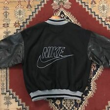 Vtg Nike Air Leather Letterman Varsity Jacket Mens Size S Small Black