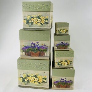 Bob's Boxes Lang Featuring The Artwork Of Ellen Stouffer 7 Nesting Boxes Floral