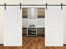 12FT Black Steel Barn Sliding Door Hardware Set w/ 2x30
