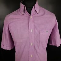 Lacoste Mens Shirt 40 SMALL Short Sleeve Purple Regular Fit Check Cotton