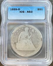 1859 O Seated Liberty Dollar One Dollar $1 Rare Graded ICG AG3 #23001