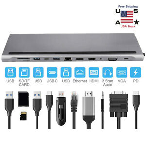 12 in 1 Type C Hub Adapter docking station laptop HDMI VGA RJ45 Multi USB 3.0 HD