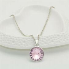 Women's Fashion simple Silver Chain Round Pink Crystal Pendant Necklace Jewelry