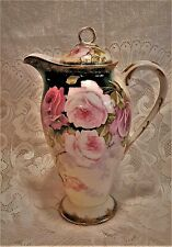"Gorgeous Elite Limoges 10"" Coffee Chocolate Pot Large Pink Roses Signed"