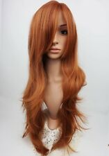 W97 Dark Ginger Extra Long Synthetic Ladies Wig Layered Skin Top Wavy