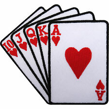 Playing Cards Patch Embroidered Iron / Sew On Shirt Bag Poker Casino Biker Badge