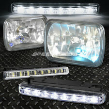 7x6 H6014 DIAMOND CUT SQUARE BLACK CRYSTAL HOUSING HEADLIGHT+BULB+LED FOG LIGHT