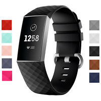 BOGO FitBit Charge 3 Soft Silicone Replacement Strap Band 10 Colors Small Large