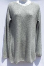 THE ROW Light Gray Melange Cashmere Silk Ribbed Knit Fitted Tunic Sweater Top M