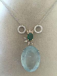 New Huge 34.7+ ct Diamond, Emerald & Aquamarine 14k gold pendant necklace 16.5in