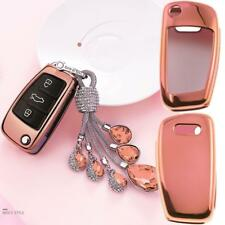Audi A1 A3 Q7 Q5 Q3 Rose Gold Protector Keyless Remote Soft Key Fob Cover Case