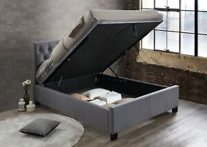 Contemporary Cologne Bed Storage Non Storage Available In Green Or Grey Velvet