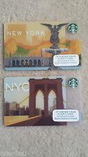 "NEW YORK CENTRAL PARK & BROOKLYN BRIDGE NY STARBUCKS 2 GIFT CARDS ""NO VALUE"""