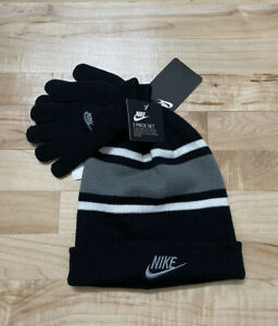 Nike boys youth winter hat and gloves set