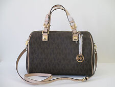 NEW Michael Kors Grayson Brown PVC Leather Large Satchel Shoulder Handbag