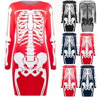 Womens Fancy Skeleton Halloween Dresses Ladies Fitted Bodycon Tunic Top Printed