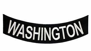 WASHINGTON White on Black Bottom Rocker Decorative Patch for Biker Vest or Jacke