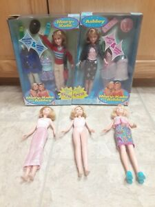 1999 MARY KATE & ASHLEY DOLL SET Pajama Party & Accessories NEW w/3 loose dolls
