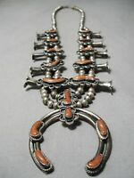 AUTHENTIC VINTAGE NAVAJO CORAL STERLING SILVER SQUASH BLOSSOM NECKLACE OLD
