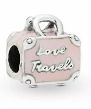 💎🎀 STERLING SILVER 925 PINK LOVE TRAVELS SUITCASE CHARM & GIFT POUCH