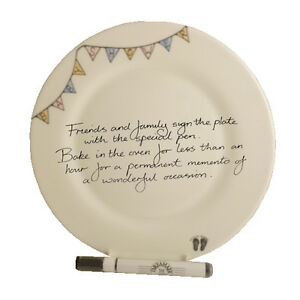 Baby Shower Gift Write Your Own Message Signature Plate: (Round) (Bunting)