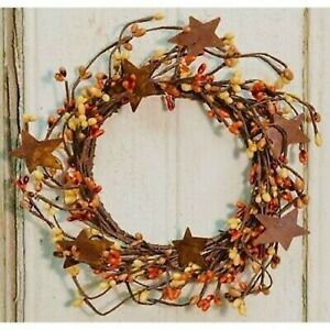 Fall Pip Berry Wreath Candle Ring with Rusty Stars Pumpkin Spice