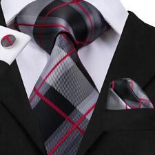 USA Classic Black Grey Red Striped Plaids&Checks Mens Tie Necktie Set Silk Woven