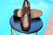 Ferragamo Mans Lavorazione Tramezza Brown leather  Dress shoe Oxfords Sz 10 EE