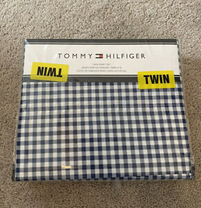 Tommy Hilfiger White Navy Blue Plaid Gingham Checkered Twin Sheet Set New
