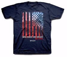 GOD Shed His Grace On Thee Patriotic USA Christian T Shirt YOUTH Large Navy NEW