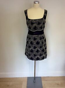 FRENCH CONNECTION DARK BLUE EMBROIDERED LINEN & COTTON DRESS SIZE 16