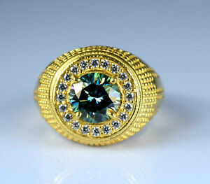 4.37 Ct Gold Finish Green Diamond Solitaire With Accents Men's Engagement Ring