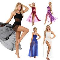 Sexy Women Ballroom Lyrical Mesh Length With Built-In Leotard Dance Maxi  Dress