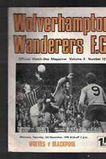 Wolverhampton Wanderers Fc Match-Day Magazine v Blackpool December 5 1970