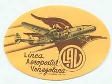 VENEZUELA LAV LINEA AEROPOSTAL VENEZOLANA CONSTELLATION AIRLINE  LUGGAGE LABEL