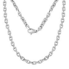 "14k White Gold Handmade Fashion Link Necklace 18"" 4.5mm 30.5 grams"