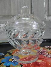 Old Heavy Pressed Glass Domed Laurel Leaf Candy Dish Footed Clear