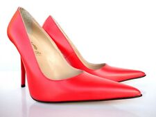 GIOHEL ITALY HIGH HEELS POINTY TOE PUMPS SCHUHE LEATHER DECOLTE RED ROT ROSSO 37