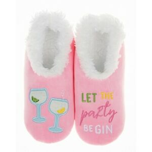 Ladies Slipper Snoozies! Pale Pink Party Gin Design Ideal  Gift