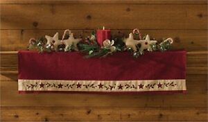 Country Christmas Star Mantle Scarf Primitive NEW