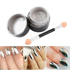 Pigment Glassy Mirror Powder Dust Magic + Two Brushes for Nail Art Manicure DY