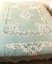Couvre-lit écru décor de dentelle au cordonnet Luxeuil 2m40 x 1m75