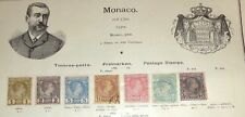 Lot  early Monaco stamp mint used hinged to 19th C album page